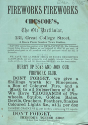 Advertisement for Chescoe's firework club